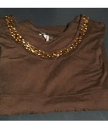 Apt 9 Stretch Brown Beaded Long Sleeve Pullover L - $5.94