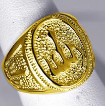 Beautiful Allah Islamic Muslim Gold pltd over Real STER Silver Arabic Ri... - $54.99