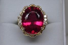 Custom 14K Yellow Gold 15+ Carat Natural Oval Shaped Rubalite Diamond Ri... - $2,585.00