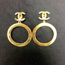 Authentic CHANEL Vintage Gold Logo Clip on Drop Earrings Coco HCE094 - $897.24