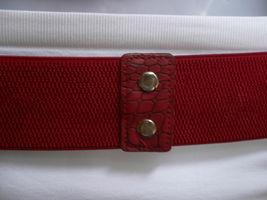 Femme Hip Taille Élastique Deux Rangs Argent Anneaux Métal Rouge Mode Ceinture image 9