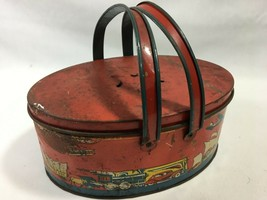 Vintage Ohio Art Red Metal Lunch Pail Tin Oval Cars Train 1930s Primitiv... - $59.39