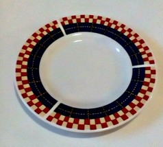 Majesticware Oneida Calico Rooster Bread Plates Checks Plaid Stoneware Set Of 2 - $9.80