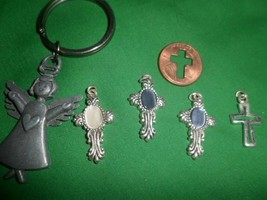 Key Chain Purse Fob Charm peweter angel + 4 cross charms 1 cut out cross... - $5.93