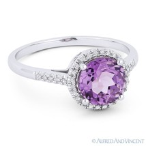 1.43 ct Purple Amethyst & Diamond Halo 14k White Gold Promise / Annivers... - £230.67 GBP