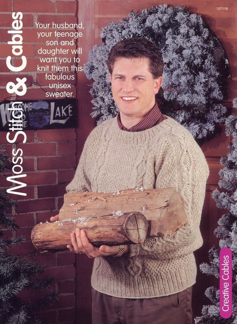Primary image for Moss Stitch & Cables Womens's Men's Sweater Size S-XL Knitting Pattern Leaflet