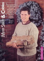 Moss Stitch & Cables Womens's Men's Sweater Size S-XL Knitting Pattern L... - $3.57