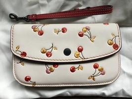 NWT COACH 1941 Leather Clutch Wristlet Wallet Cherry Print Chalk $225 21778 - $199.99
