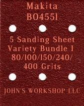 Makita BO4551 - 80/100/150/240/400 Grits - 5 Sandpaper Variety Bundle I - $7.53