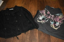 Maurices black crop jacket & gray butterfly top plus size 2 XXL - $20.33