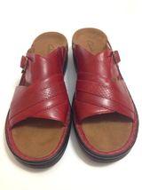 RED Womens LEATHER Sandals Comfort Croc Slip CLARKS 11 Accent Slides On Sz d6wZqTAE