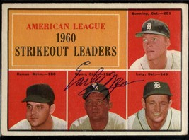 Early Wynn (d. 1999) Signed Autographed 1961 Topps Strikeout Leaders Bas... - $19.99