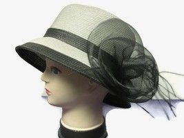 August Hat Hyancith Mesh & Feather Accented Adjustable Cloche Gray - €17,32 EUR