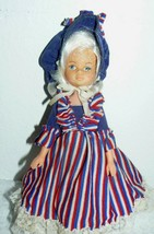 "1971 U.D. CO. INC Hong Kong Plastic Girl Doll 9"" in red, white & blue ou... - $14.22"