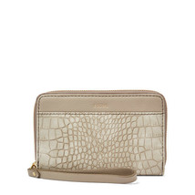 NWT Fossil Jori RFID Multifunction Wristlet Grey Crocodile Embossed Wallet - $34.99