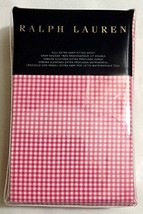RALPH LAUREN BLUE LABEL CLASSIC GINGHAM KING FITTED SHEET 100%COTTON PIN... - $88.75