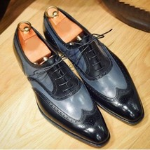 Handmade Men Black & Blue Heart Medallion Wing Tip Lace Up Oxford Leather Shoes image 1