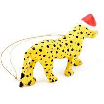 Hand Carved & Painted Jacaranda Wood Santa Hat Cheetah Safari Christmas Ornament image 4