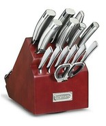 Cuisinart STAINLESS STEEL Classic Rotating Wooden Block Cutlery Set 15-Pc - $93.91