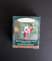 1999 Miniature Hallmark Keepsake Bugs Bunny and Elmer Fudd Ornament with... - $7.00