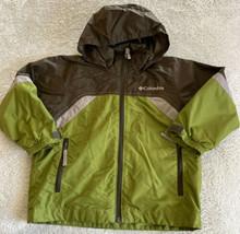 Columbia Boys Green Brown Packable Hood Pockets Windbreaker Jacket 4-5 - $16.93