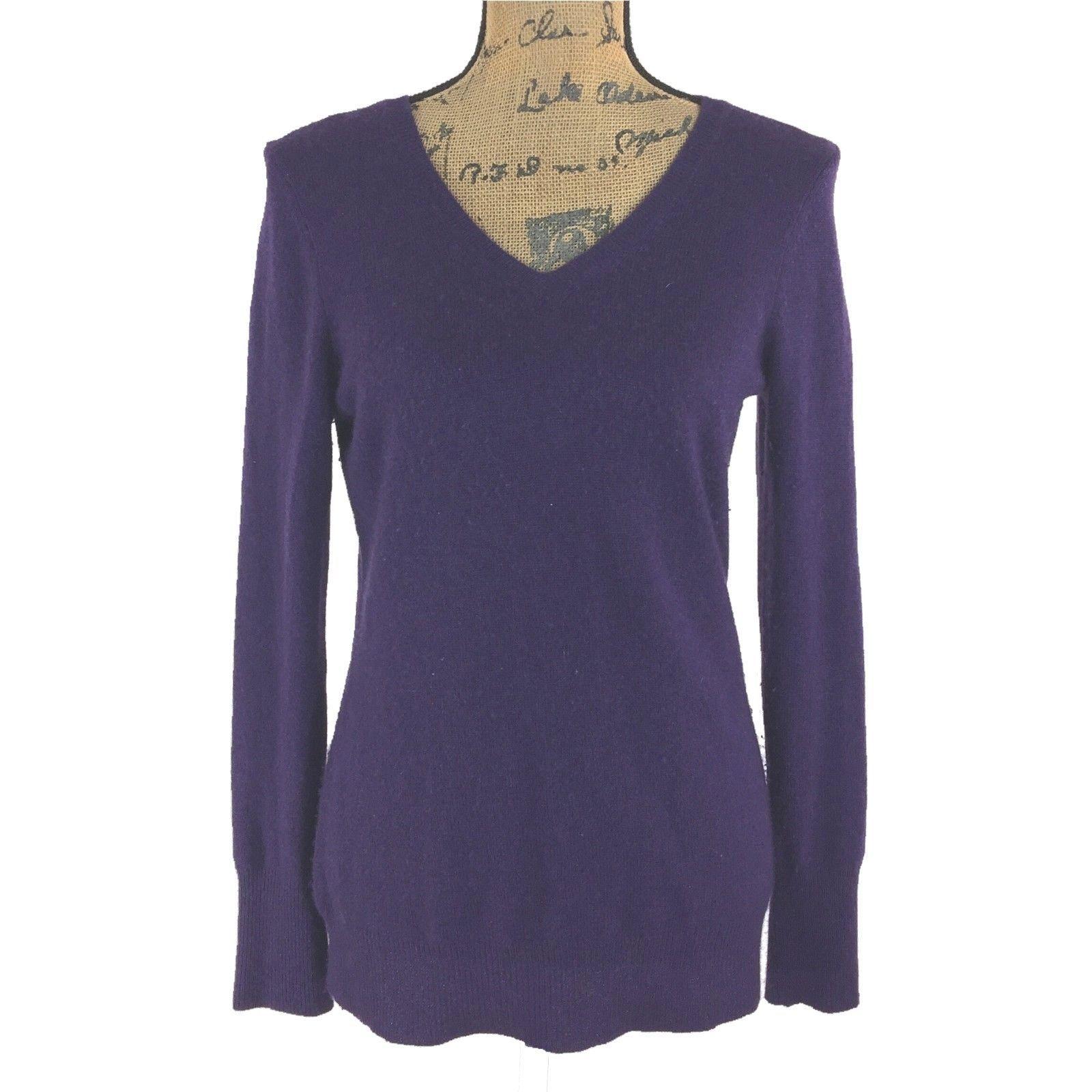 100% Cashmere Sweater Med Dark Purple Plum ALEX MARIE Long Sl V Neck Stretch LN