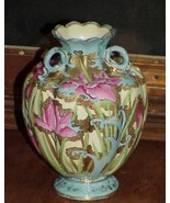 Moriage Nippon Iris Sky Blue Hand Paint Floral Heavy Gold 3 Handle Vase ... - $485.09