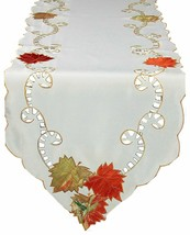 Xia Home Fashions Scrolling Leaf Embroidered Cutwork Harvest 15-Inch by ... - $40.27