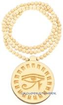 """Eye Of Horus New Egyptian Wood Pendant With 36"""" Beaded Necklace Wadjet Luck - $13.98"""