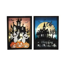 Haunted House Halloween Ghost Jack-O-Lantern Shadowbox LED Lighted Decor... - $70.76