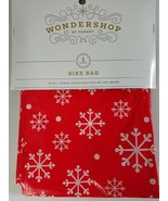 Wondershop by Target Large Bike Gift Bag Wrap Red w/ White Snowflakes 80... - $9.89