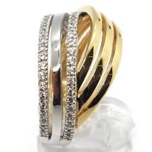 18K WHITE YELLOW GOLD BAND RING, CUBIC ZIRCONIA, BICOLOR BINARY, ONDULATE, WAVE image 2