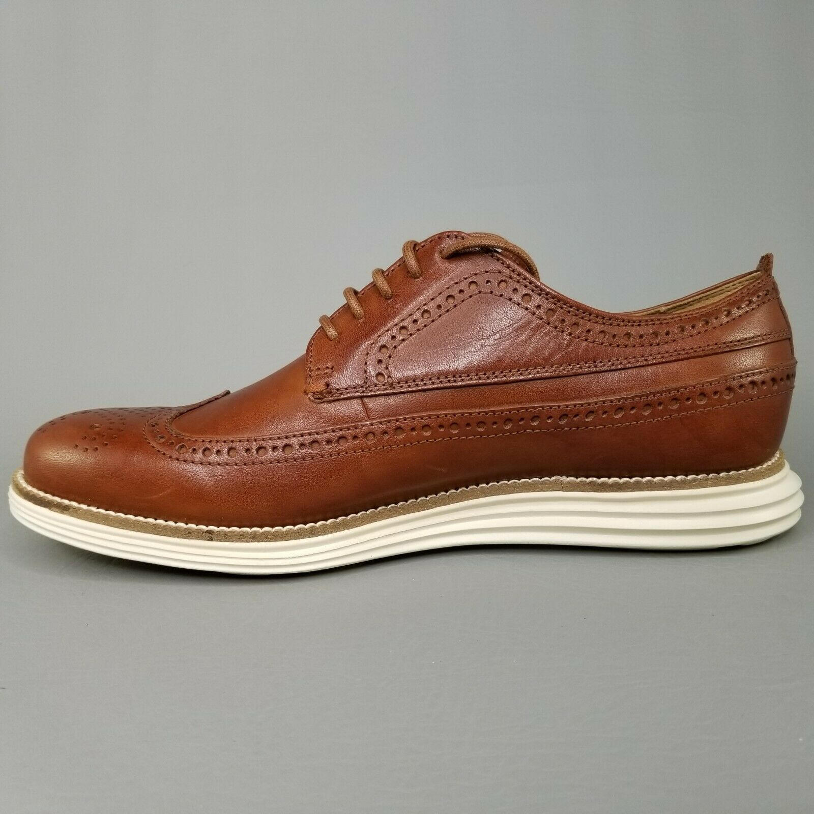 Cole Haan OriginalGrand Leather Long Wingtip Oxfords Mens SZ 8 Brogue Brown Tan