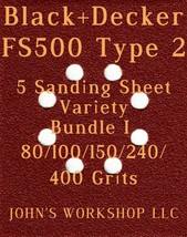 Black+Decker FS500 Type 2 - 80/100/150/240/400 Grit - 5 Sheet Variety Bu... - $7.92