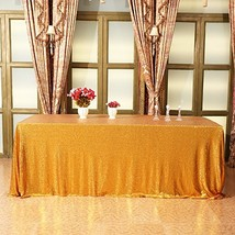 Eternal Beauty 72'' X 108'' Gold Sequin Tablecloth Wedding Banquet Party... - $37.97