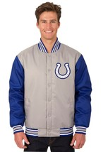 NFL Indianapolis Colts Poly Twill Jacket Charcoal Blue two Patch Logos JH Design - $129.99