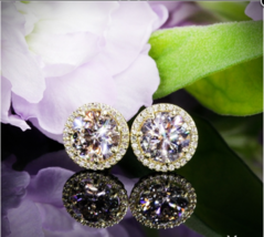 4Ct Round Cut Moissanite Diamond Basket Halo Stud Earrings 18K Yellow Go... - $123.49