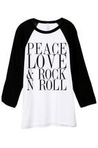 Thread Tank Peace Love And Rock n Roll Unisex 3/4 Sleeves Baseball Raglan T-Shir - $24.99+