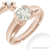 Round Brilliant Cut Moissanite 14k Rose Gold Bezel-Set Solitaire Engagem... - £367.40 GBP+
