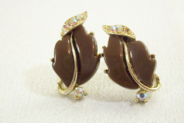 LISNER Cocoa BROWN Thermoset AB Rhinestone Silver Plt Screwback Earrings... - $17.81