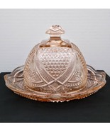 Pressed Pink Glass Round Domed Butter Dish - £10.81 GBP