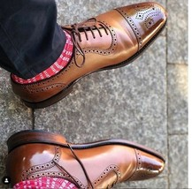 Handmade Men's Brown Two Tone Brogues Style Dress/Formal Oxford Leather Shoe image 2