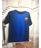 FCB Barcelona Small Men's Blue Black Striped Soccer Jersey Shirt - $21.53