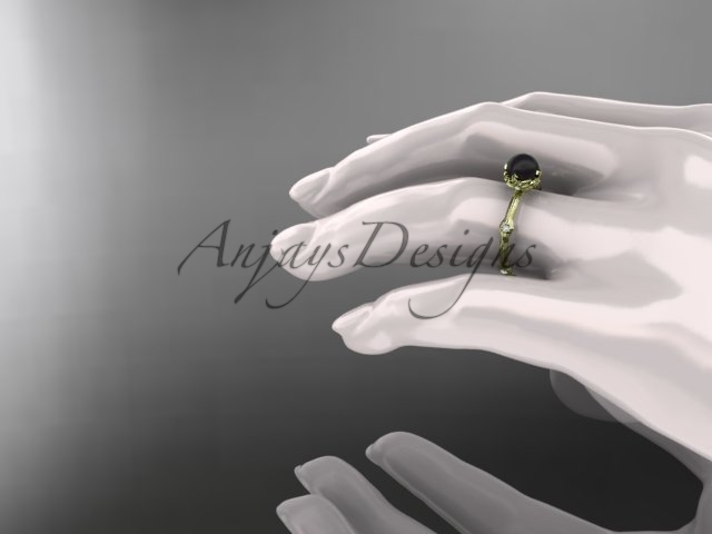 Yellow gold nature inspired ring, 14k yellow gold Tahitian Black Pearl vine and