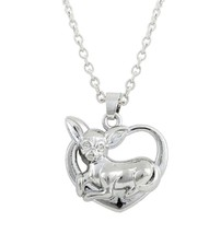 Chihuahua Necklace Heart Pendant Silver Plated Love Dog Puppy - $22.99