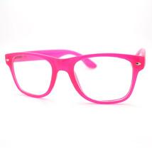 Bright Neon Clear Lens Fashion Unisex Old School Horn Rim Eyeglasses 6 C... - $9.95
