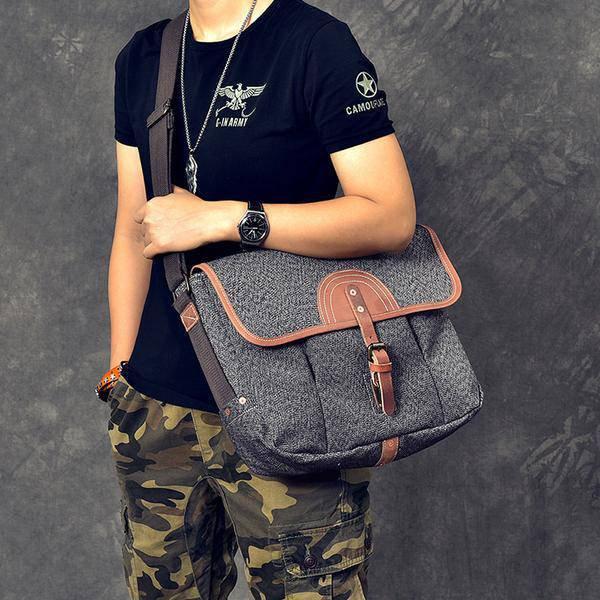 Sale, Canvas With Leather Messenger Bag, Large Capacity Shoulder Bag, Laptop Bag image 4