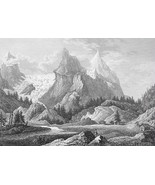 SWITZERLAND Wetterhorn Rosenlaui Alps - 1860 SCARCE Print Multiple Views - $26.78