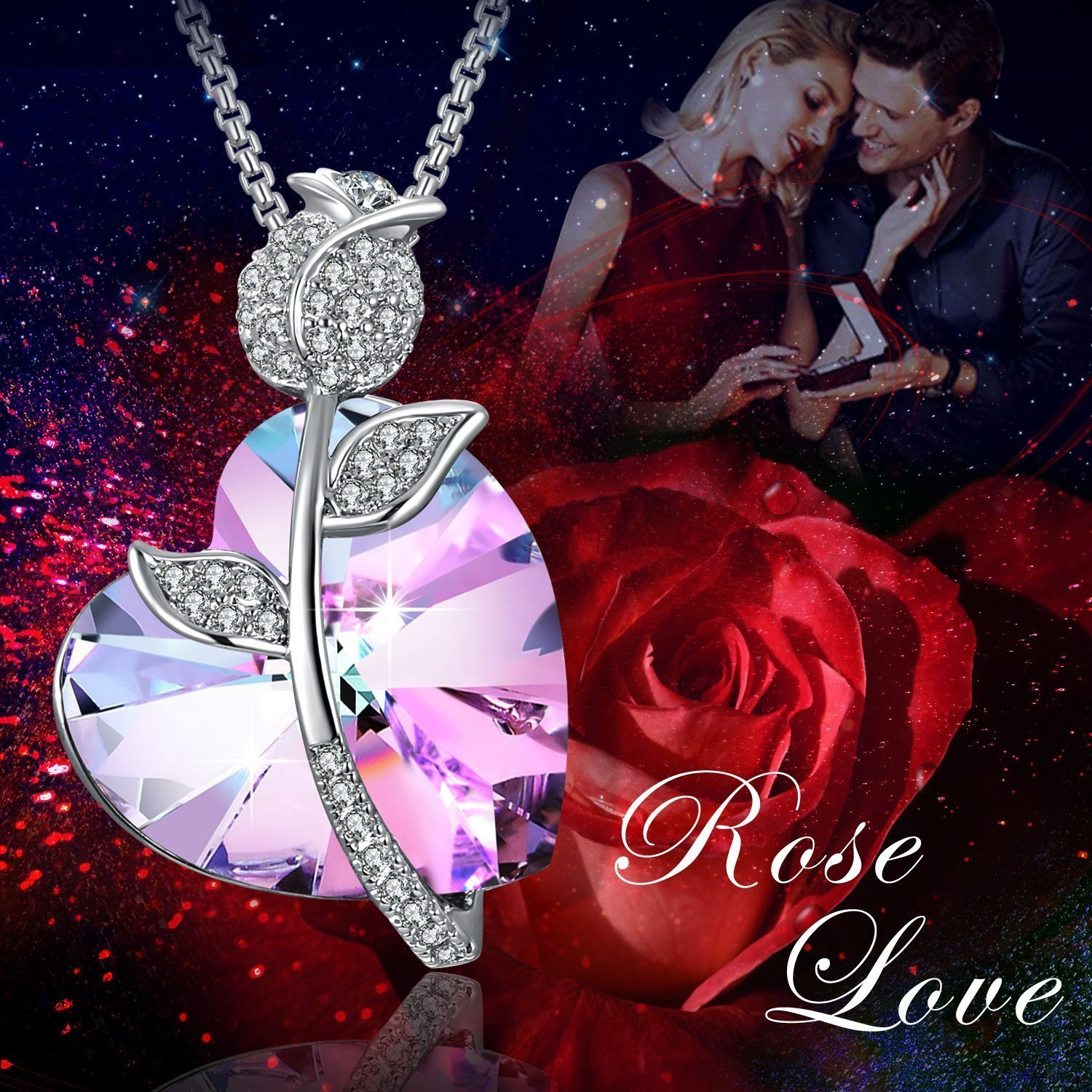 {Gift Packaging] Heart Shape Necklace PLATO H Romantic Rose Heart Necklace Love