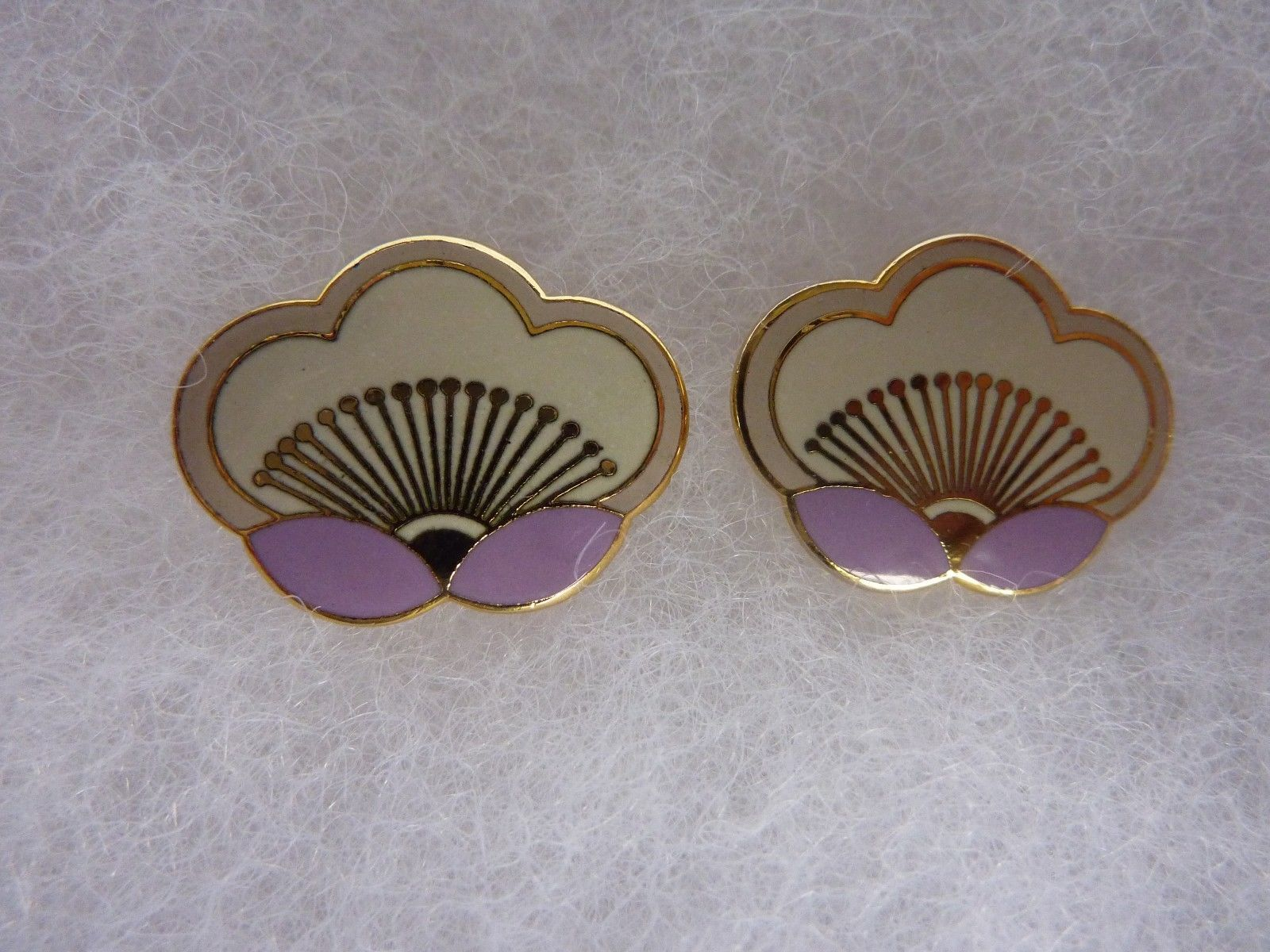 Primary image for Vintage Laurel Burch Simple White Lavender Enamel Flower Post Earrings